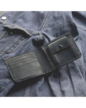 Мужской кожаный бумажник DARTON MR. BIFOLD Navy фото 4