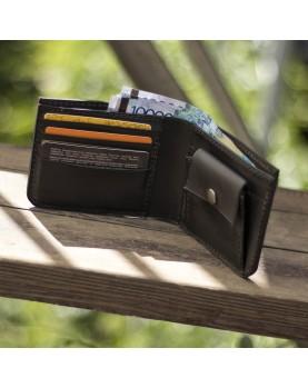 Мужской кожаный бумажник DARTON MR. BIFOLD Black Onyx фото 2