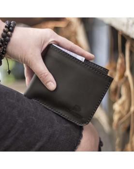 Мужской кожаный бумажник DARTON MR. BIFOLD Black Onyx фото 1