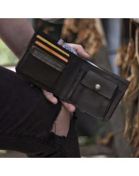 Мужской кожаный бумажник DARTON MR. BIFOLD Black Onyx фото 5