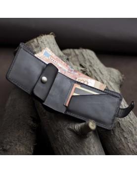 Мужское портмоне на кнопке из мягкой кожи DARTON PAUL Black Onyx фото 5