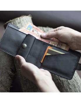 Мужское портмоне на кнопке из мягкой кожи DARTON PAUL Black Onyx фото 2