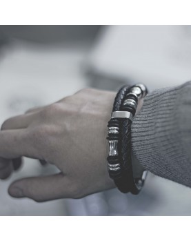 Мужской Плетеный кожаный браслет MR.SMITH MS-009-BLS фото 4