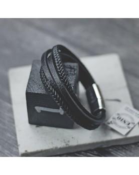 Плетеный кожаный браслет MR.SMITH MS-7038-BLS фото 1