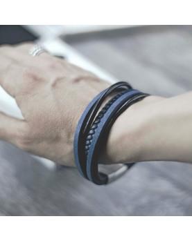Мужской синий кожаный браслет MR.SMITH MS-7036-BLS фото 3