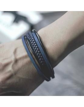 Мужской синий кожаный браслет  MR.SMITH MS-7036-BLS фото 1