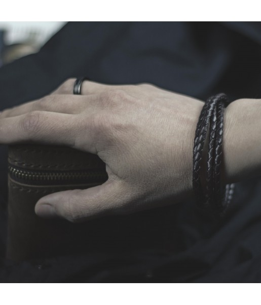 Плетеный кожаный браслет MR.SMITH MS-3203-BLS Фото 2
