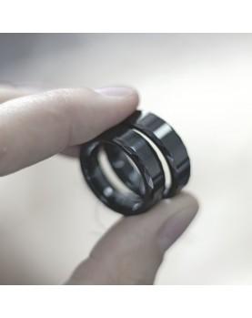 Черные Парные кольца из вольфрама Spikes R-TU-7024 фото 2