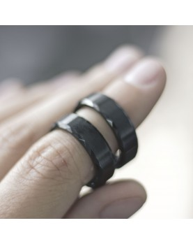 Черные Парные кольца из вольфрама Spikes R-TU-7024 фото 3