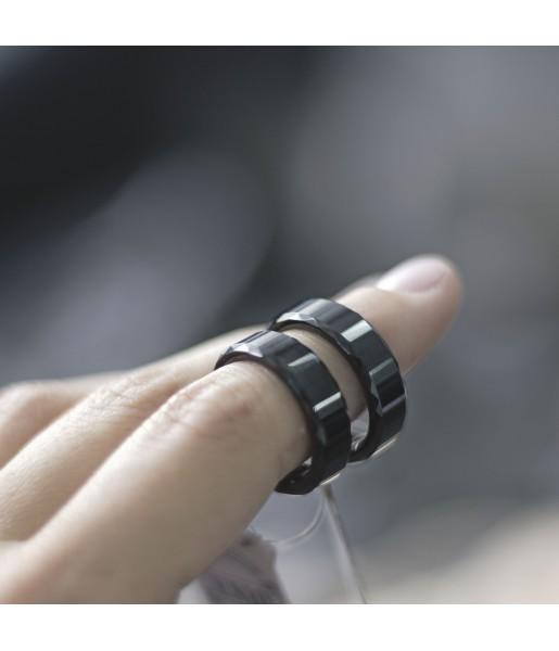 Черные Парные кольца из вольфрама Spikes R-TU-7024 фото 1