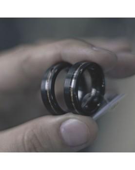 Парные кольца из вольфрама с деревянной вставкой Spikes R-TU-7061 Фото 1