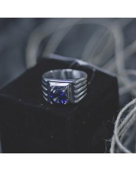 Перстень с синим камнем Respect Steel RSS7044 Фото 2