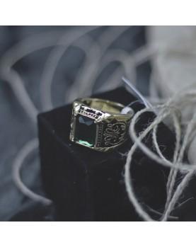 Мужской Перстень с зеленым камнем Respect Steel RSS7047 Фото 2