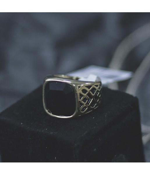 Мужской Перстень золотого цвета с черным камнем Respect Steel RSS7040 Фото 1
