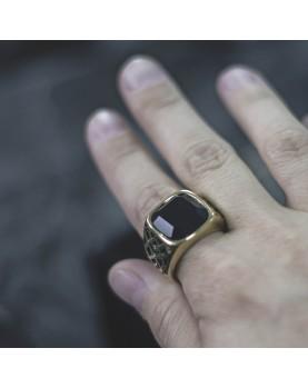 Мужской Перстень золотого цвета с черным камнем Respect Steel RSS7040 Фото 2