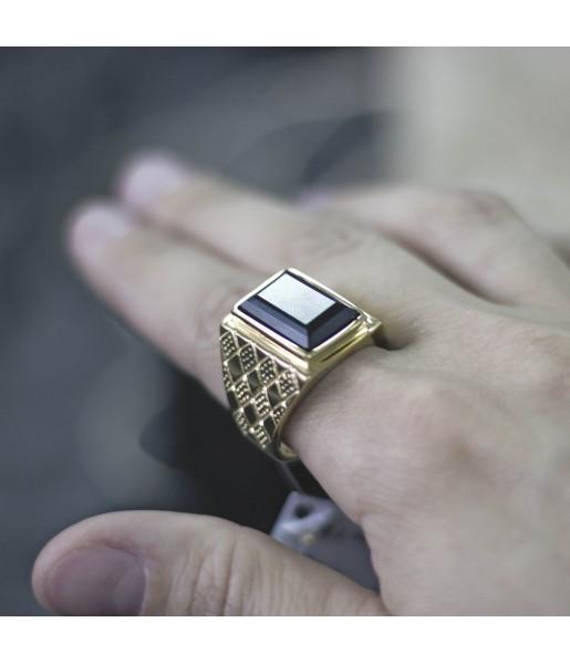 Мужской Перстень с черным камнем Respect Steel RSS7049 Фото 1