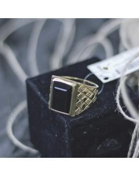 Мужской Перстень с черным камнем Respect Steel RSS7049 Фото 2