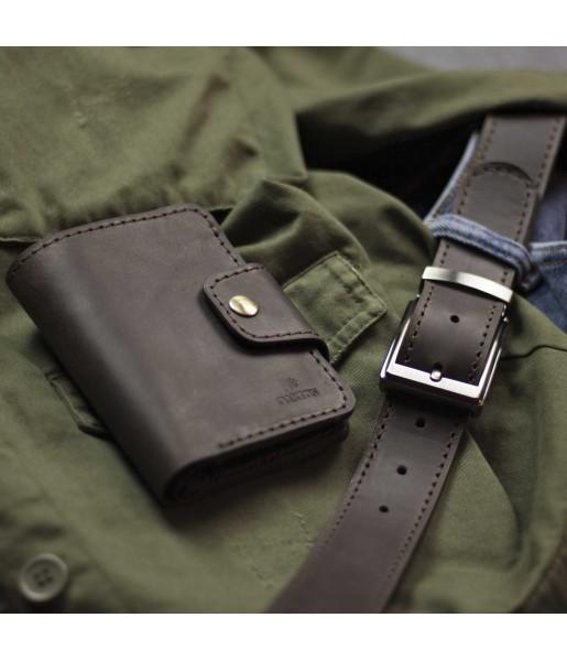 Мужское кожаное портмоне и ремень в наборе SMART Deep Brown Фото 1