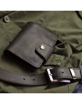 Мужское кожаное портмоне и ремень в наборе SMART Deep Brown Фото 2