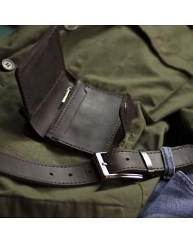Мужское кожаное портмоне и ремень в наборе SMART Deep Brown Фото 4