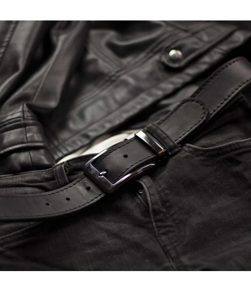 Мужской ремень черный ширина 3,5 DARTON STATUS Black