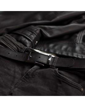 Мужской кожаный ремень черный ширина 3,5 DARTON STATUS Black