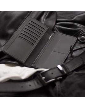 Мужской подарочный набор ELEGANCE PRO Ремень и Портмоне из натуральной черной матовой кожи