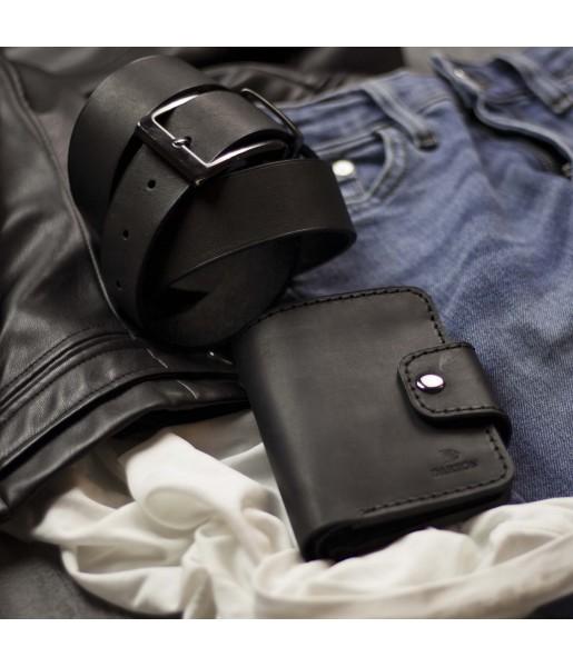 Мужской кожаный кошелек и ремень в наборе SMART Light