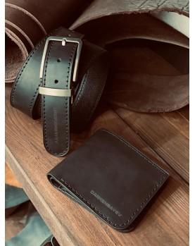 Мужской подарочный набор Ремень и Портмоне из кожи CLASSIC PRO+ Фото 1
