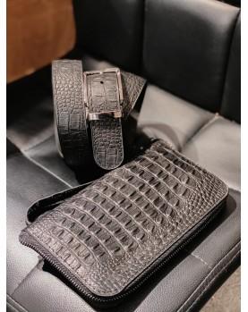 Мужской подарочный набор Ремень и Портмоне Клатч из натуральной кожи под крокодила  GATSBY в Алматы