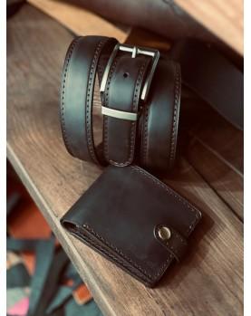 Набор CLASSIC PRO MAX портмоне  Paul и с ремнем PREMIER - коричневый