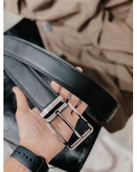 Мужской кожаный ремень для джинсов DARTON PREMIER 4/120sm Black MATT