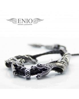Кожаный браслет с головами Дракона MR.SMITH BR-0025-BLS фото 5