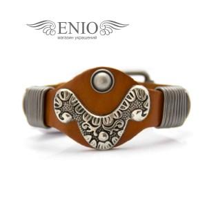 Кожаный браслет Spikes NL-1402-BRN фото 1