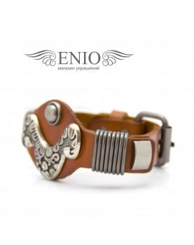 Кожаный браслет Spikes NL-1402-BRN фото 2