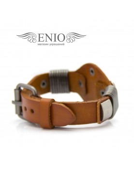 Кожаный браслет Spikes NL-1402-BRN фото 3
