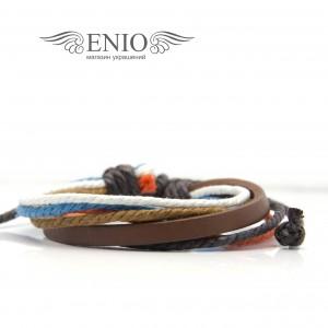 Кожаный браслет (Фенечка) Spikes NL-0042-BRN фото 1