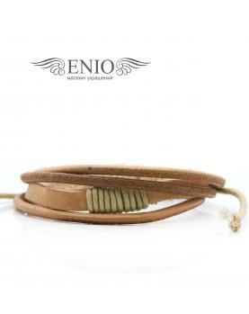 Кожаный браслет (Фенечка) Spikes NL-0047-BRN фото 1