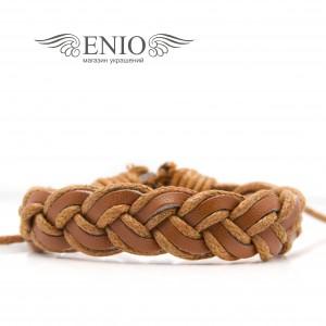 Кожаный браслет (Фенечка) Spikes NL-0039-BRN фото 1