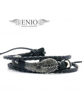 Кожаный браслет (Фенечка) Spikes NL-0049-BL фото 1