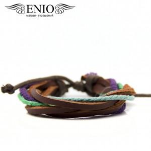 Кожаный браслет (Фенечка) Spikes NL-0035-BRN2 фото 1