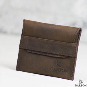 b99c99985d72 Мужской маленький кошелек DARTON POCKET Chocolate из кожи для карт ...