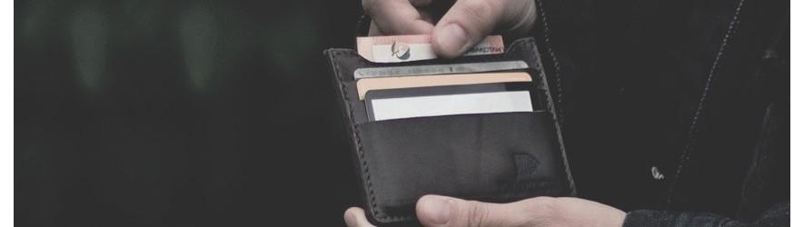 Купить кожаный картхолдер, маленький мужской кошелек для карт в Алматы